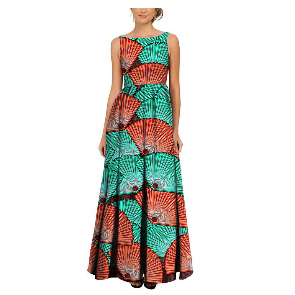 AFRIPRIDE 2018 women fashion ladies dress Private Custom sleeveless pleated maxi dress ankle length cotton party