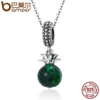 BAMOER Genuine 100 925 Sterling Silver Summer Pineapple Green Crystal Women Pendant Necklace Sterling Silver Jewelry