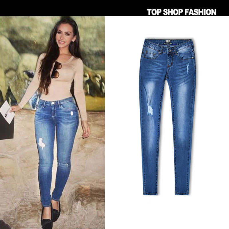 34 44 Euro Big Size Women Skinny Jeans Elastic Slim Pencil Pants Girl Ripped Jeans Blue