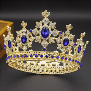 Image 2 - 아름다움 럭셔리 바로크 빈티지 라이트 골드 라운드 diadem 신부 크라운 신부 tiaras 로얄 킹 퀸 웨딩 쥬얼리 헤어 장식품