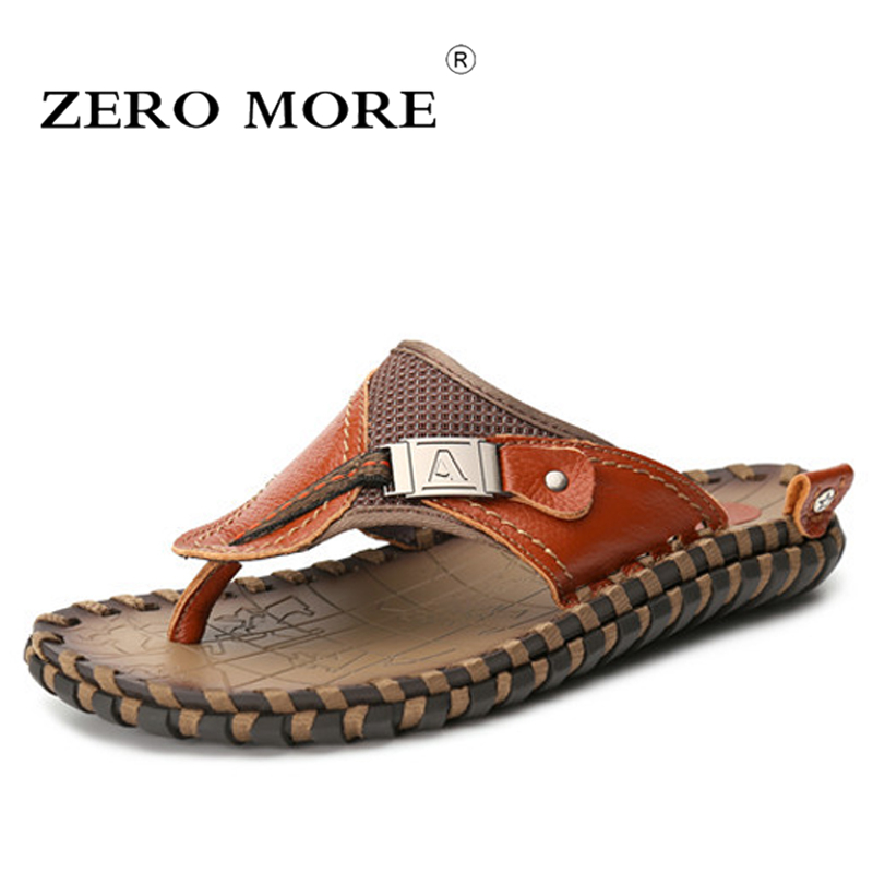 Men/'s Flip Flops Genuine Leather Slippers Summer Fashion Beach Sandals Shoes