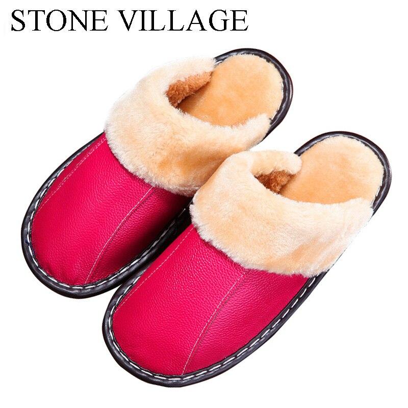Genuine Leather slippers Warm plush Slipper women Couples Winter IndoorOutside Flats women slippers shoes Women home Slippers 2