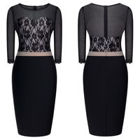 New 3/4 Sleeve O-neck Contrast Color Mesh Patchwork Perspective Lace Pencil Dress Women Casual Party Sexy Dresses Vestidos