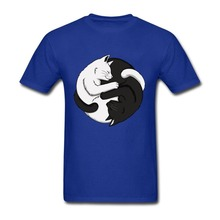 Black and White Custom Made Simple Style Short Sleeve Man Tee shirts New Style Mens T Shirts Yin Yang Cats t-shirts