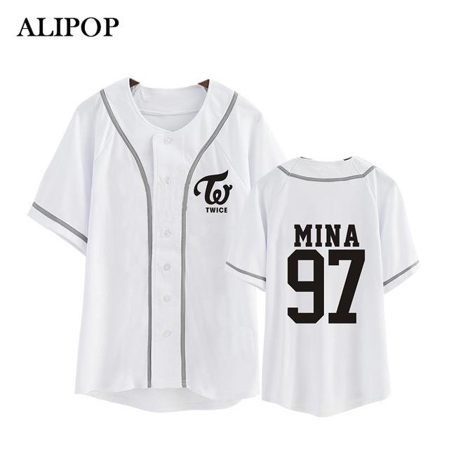 ALIPOP Kpop Coreano Moda DUAS VEZES Terceiro Mini Álbum TWICEcoaster LANE1 Botão Cardigan de Algodão Tshirt K-POP T Shirts T-shirt PT344