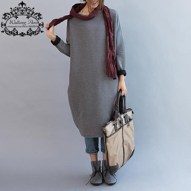Плюс Размер Новых женщин Осень Dress Случайные Хлопка Футболки Свободные Леди Одежда С Длинным Рукавом в Полоску Печати Вязание Большой Размер Dress
