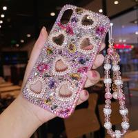 For iPhone XS max XR X Luxury Bling Heart Crysta Diamond case for iphone 8 8plus 6 6S 6P 7 7P Girl Lady Woman gift case +strap