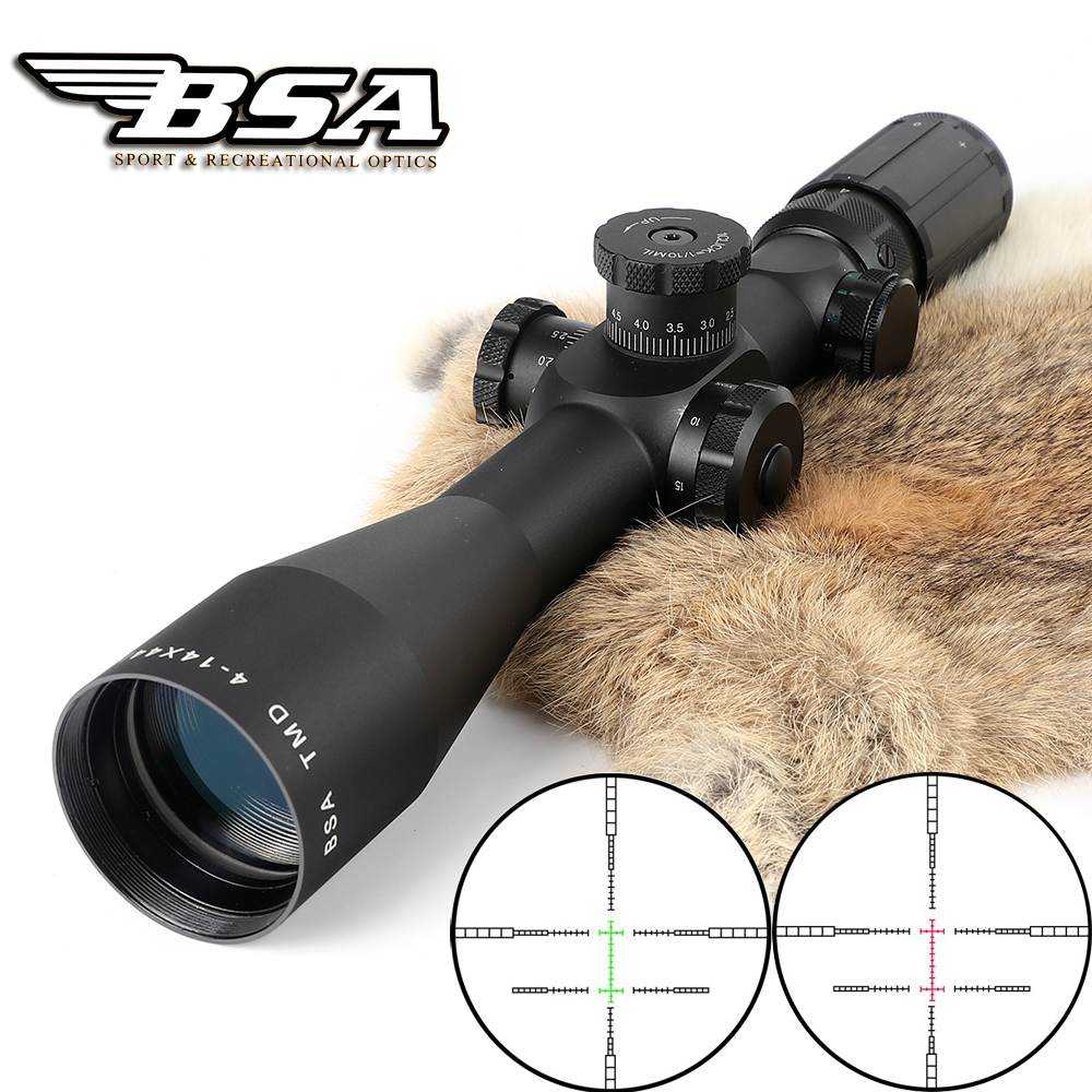Tactical Hunting Shooting Riflescope BSA TMD 4-14X44E First Focal Plane Optical Sight Red Green Illuminated Lock Rifle Scopes marcool 4 16x44 side focus front focal plane optical sights rifle scope hunting riflescopes for tactical gun scopes for adults
