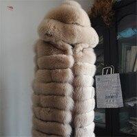 New Real fox fur Vest with hood women full pelt fox fur coat winter fur warm hoodie jacket waistcoat big size S 6XL Free DHL/EMS