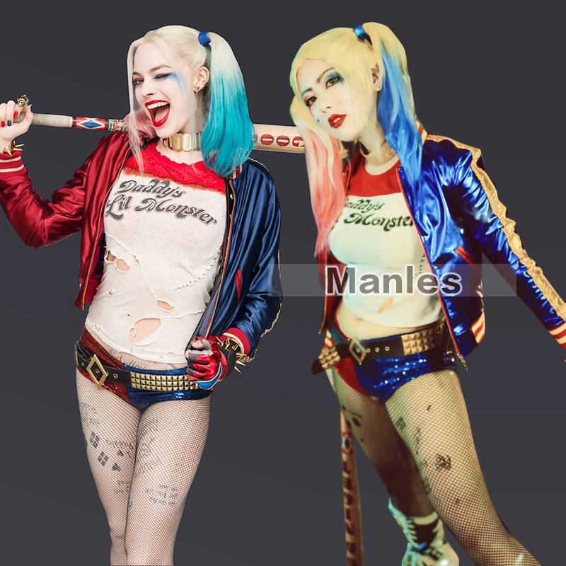 Harley Quinn Costume Cosplay Full Set Harley Quinn Fancy Outfit Halloween Cosplay Clothing Adult Women Movie Sexy Suit Customize