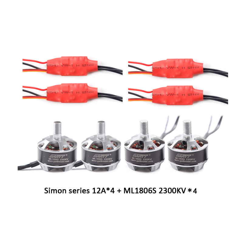 GARTT 2 CW 2 CCW ML 1806 S 2300KV motor & 4 PCS Simon series 12A Brushless ESC Speed Controller for FPV QAV 250 Quadcopter Drone lhi fpv 4x mt2206 2300kv cw ccw fpv brushless motor 2 4s 4pcs 30a esc speed controllermini quadcopter qav250