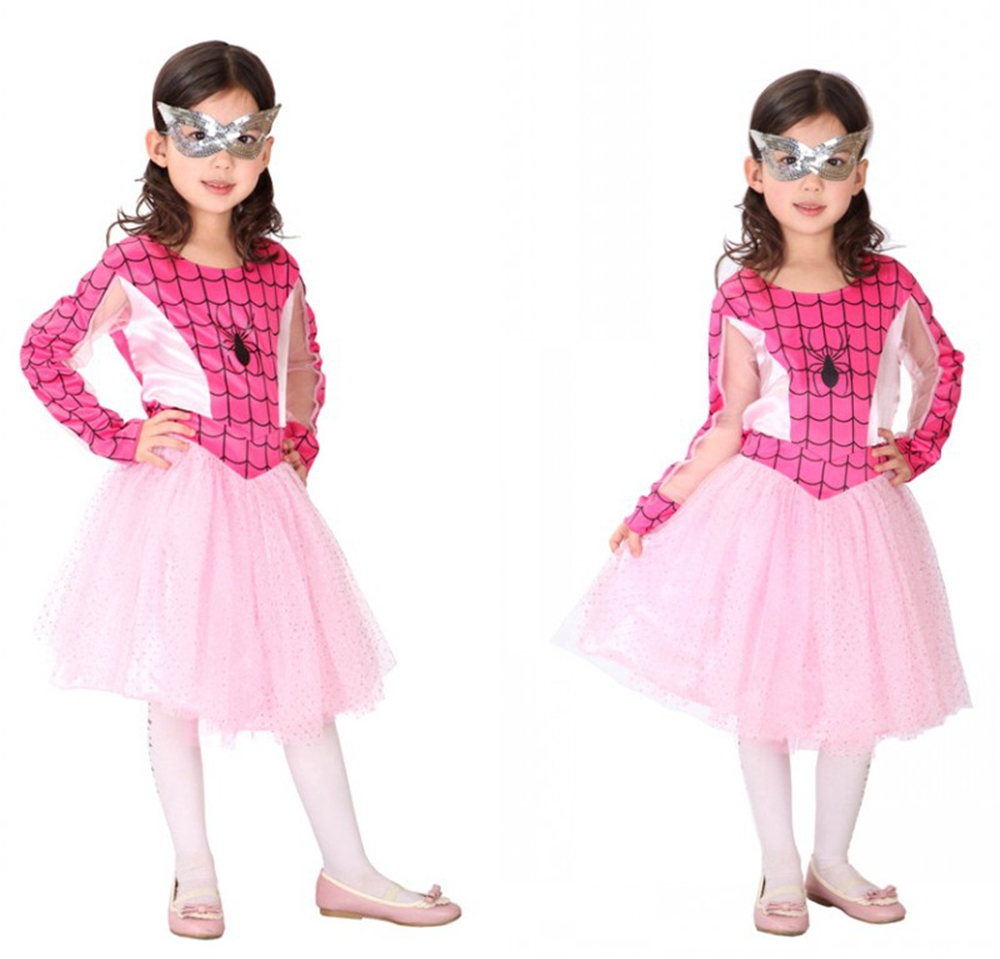 free shipping kids spider man costume girls red blue spiderman dress
