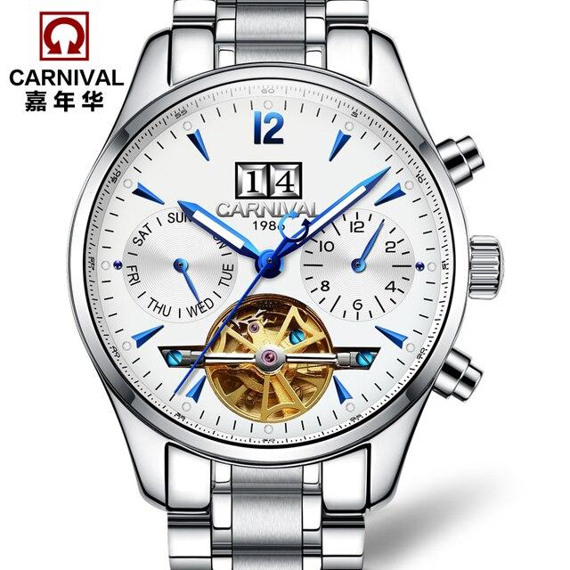 01c85ae25d5 Marca de luxo suíça Carnaval tourbillon automatic relógio mecânico moda  casual relógios homens de aço cheio