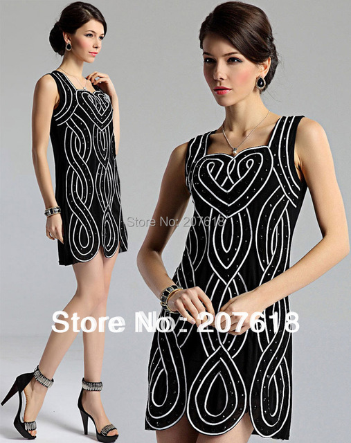 Fashion Women Sleeveless Striped Dress Beaded Party Dress Sexy Mini Western Formal Dresses