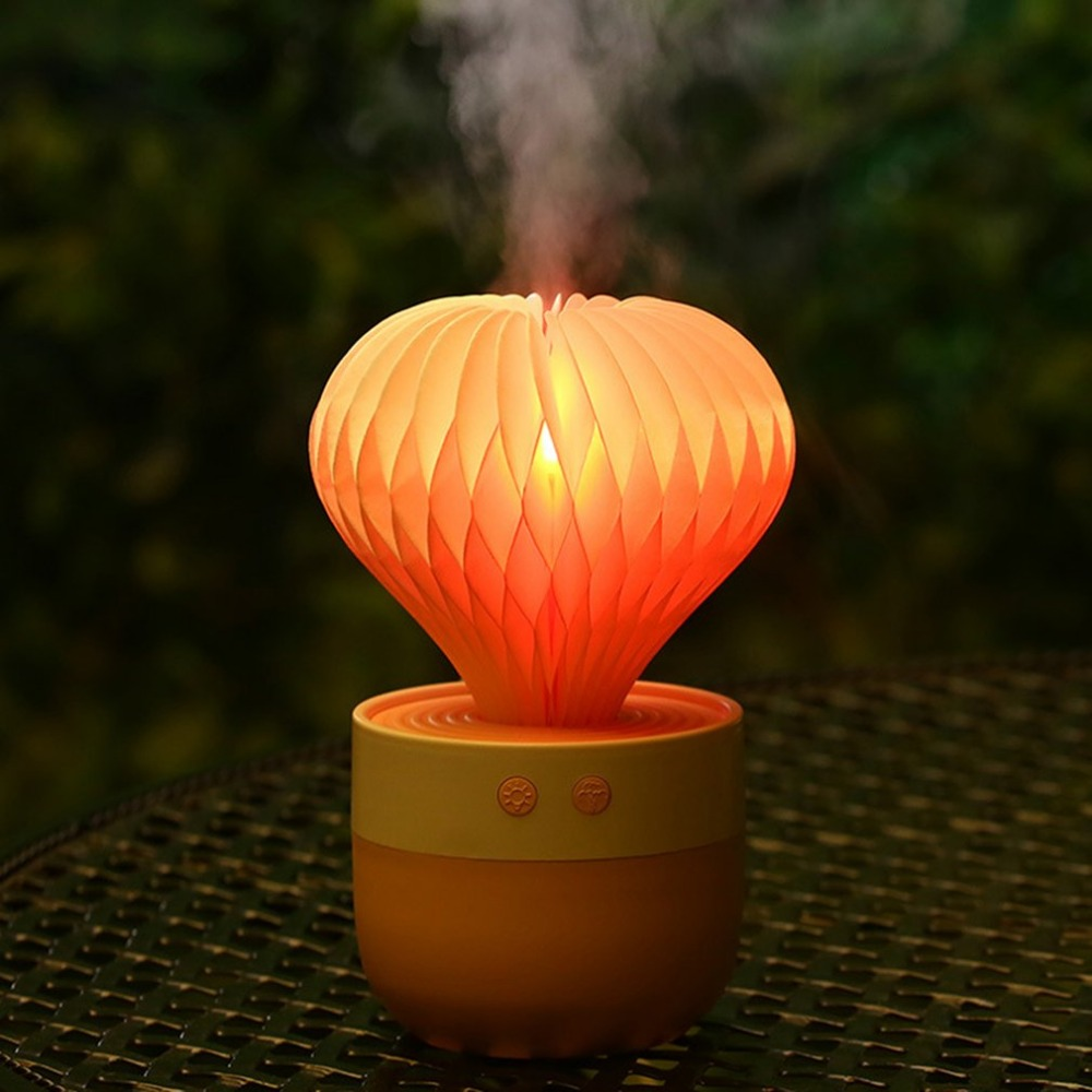 150Ml Round Cactus Design Humidifier USB Electric Mist Maker With Colorful LED Night Light