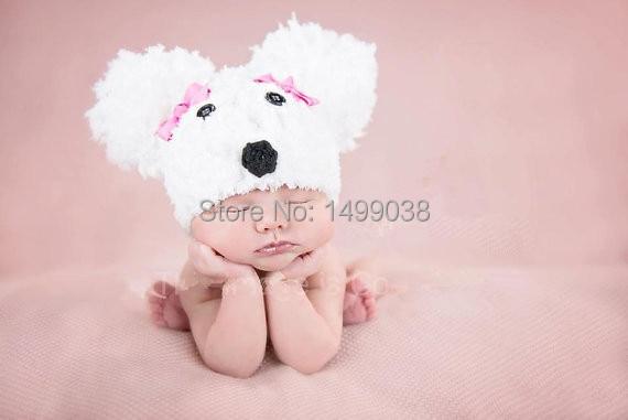 sombrero del bebé crochet perro pom pom sombrero foto - Ropa de bebé