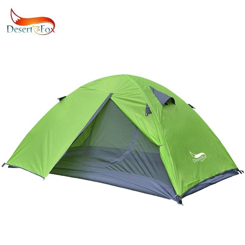 Deserto & Fox Mochila Tenda, 2 Pessoa Alumínio Pólo Barraca de Camping Leve, dupla Camada de Bolsa Portátil para Caminhadas, Viajar