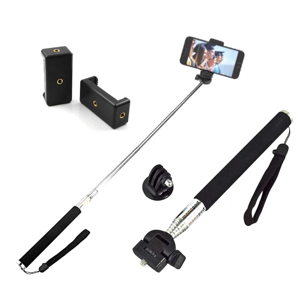 Selfie Stick Mini Tripod Kepala Bluetooth Remote Control Ponsel E Klip GoPro Aksesoris untuk Ponsel Aksi Canera Video