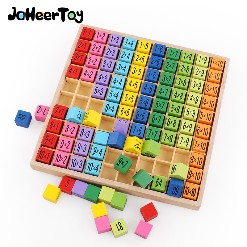Montessori Educational Wooden Toys for Children Baby Toys 99 Multiplication Table Math Arithmetic Teaching Aids for Kids(China)