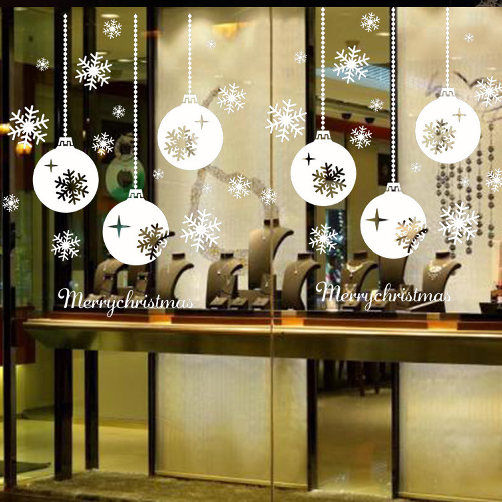 venta caliente ventana de copo de nieve de la feliz navidad pegatinas de pared de la
