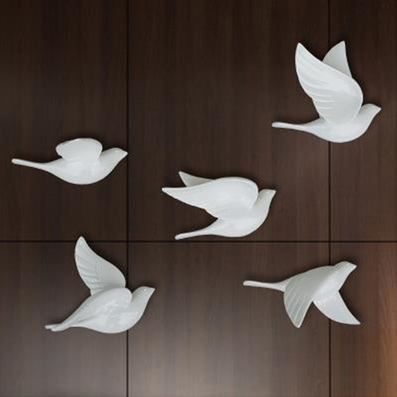 Creative three dimensional wall decoration bird home decoration pigeon wall hanging 5 cute beautiful birds wedding