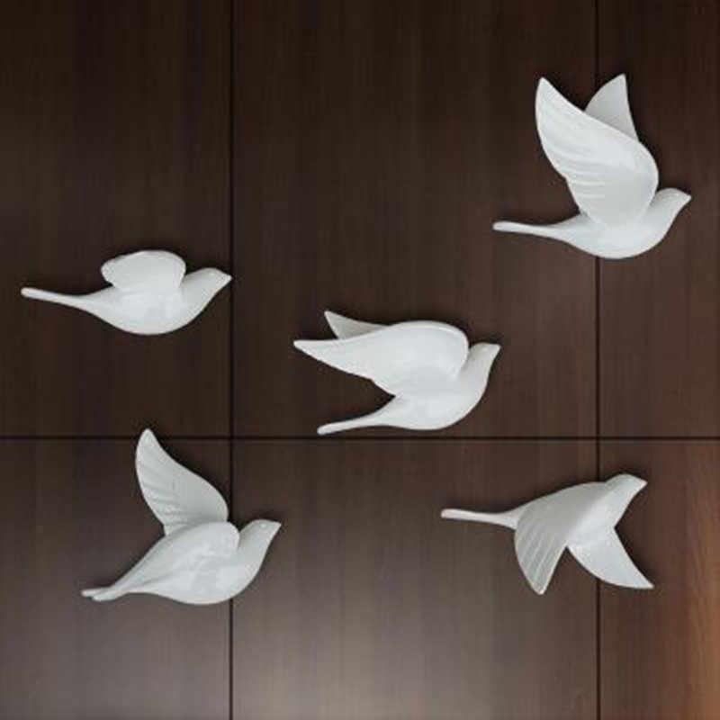 Creative תלת ממדי קיר קישוט ציפור, עיצוב הבית יונה קיר תלוי, 5 חמוד יפה ציפורים, חתונה חדר דקור