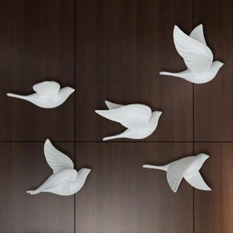Criativo decoração de parede tridimensional pássaro, decoração para casa pombo parede pendurado, 5 bonito pássaros bonitos, decoração do quarto casamento