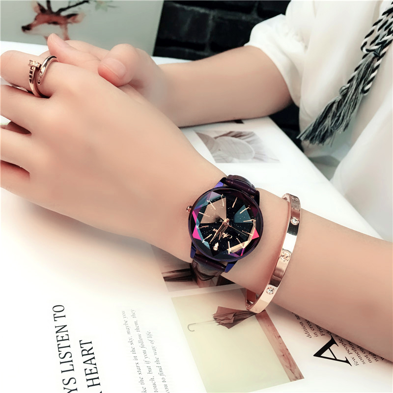 Many Colors Korea Hot Style Quartz Watch For Women Delicate Fashion Simple Star Sky Dial Rope Strap Watch For Gift