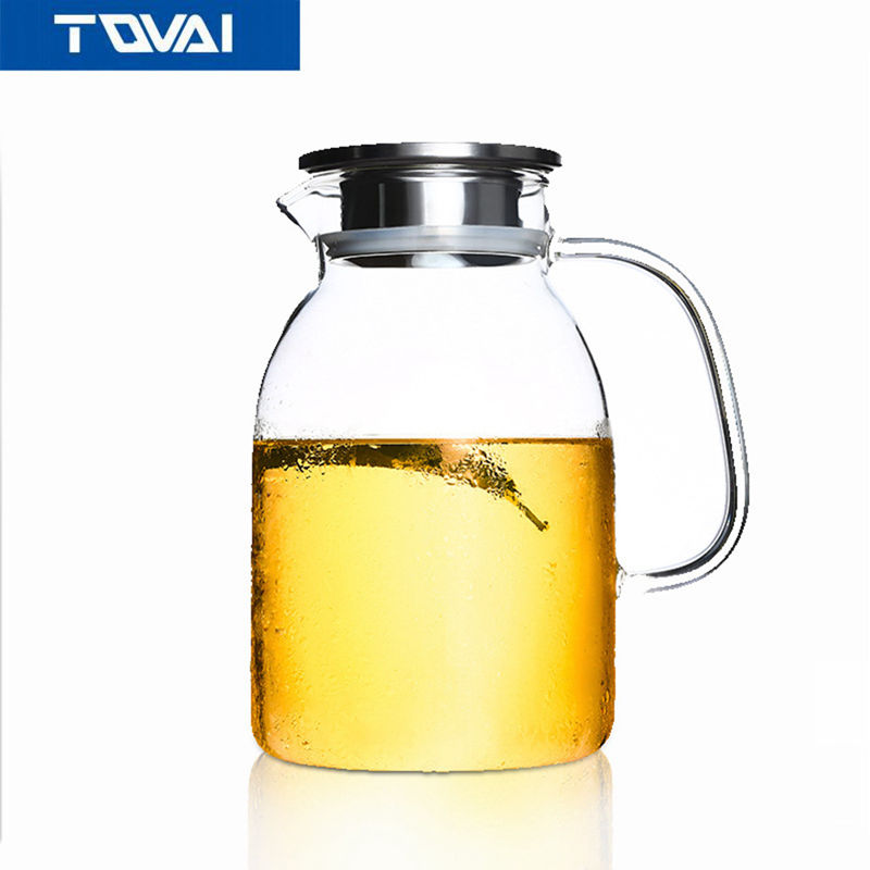 TQVAI Large Capacity Drinkware 1800ml Glass Teapot Flower Teapot Kettle with Steel Lid or Bamboo Lid