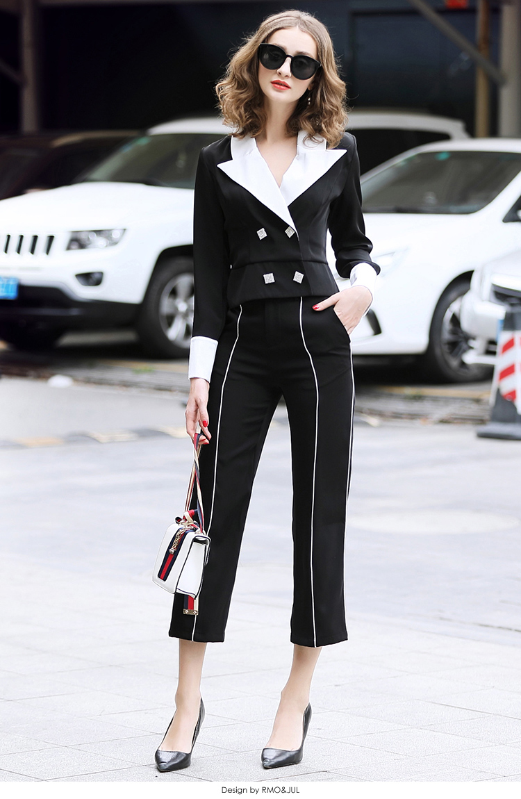 family RMOJUL temperament of the new spring dress 2019 OL bump color suit jacket + 9 minutes of pants fashion set 45