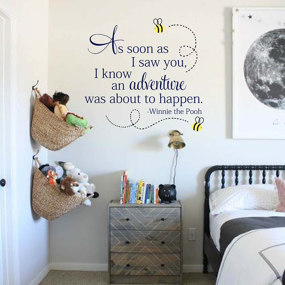 As soon as I saw you I knew an Adventure is about to Happen Winnie the Pooh Wall Quote Decal Winnie the Pooh Nursery Decor 856Q