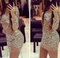 Luxury Gorgeous New Sparkly Transparent See Through Crystals Beaded Long Sleeves Mini Short Cocktail Prom Dresses Custom 2016