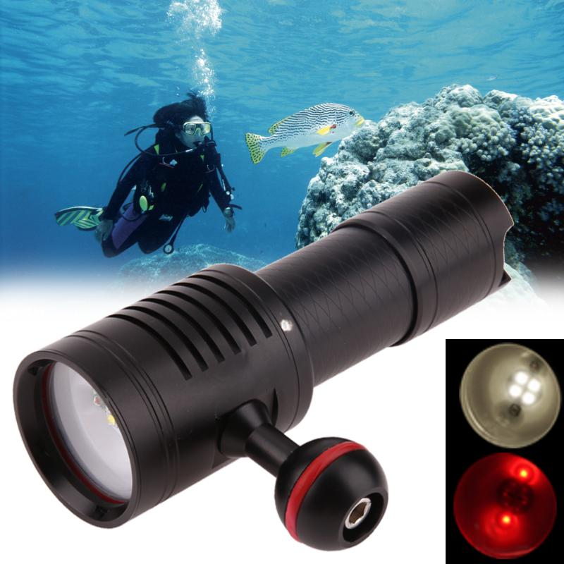 Pro 4 LED Waterproof Diving Photography Light Torch Underwater Flashlight By a 18650/26650 Lithium Battery