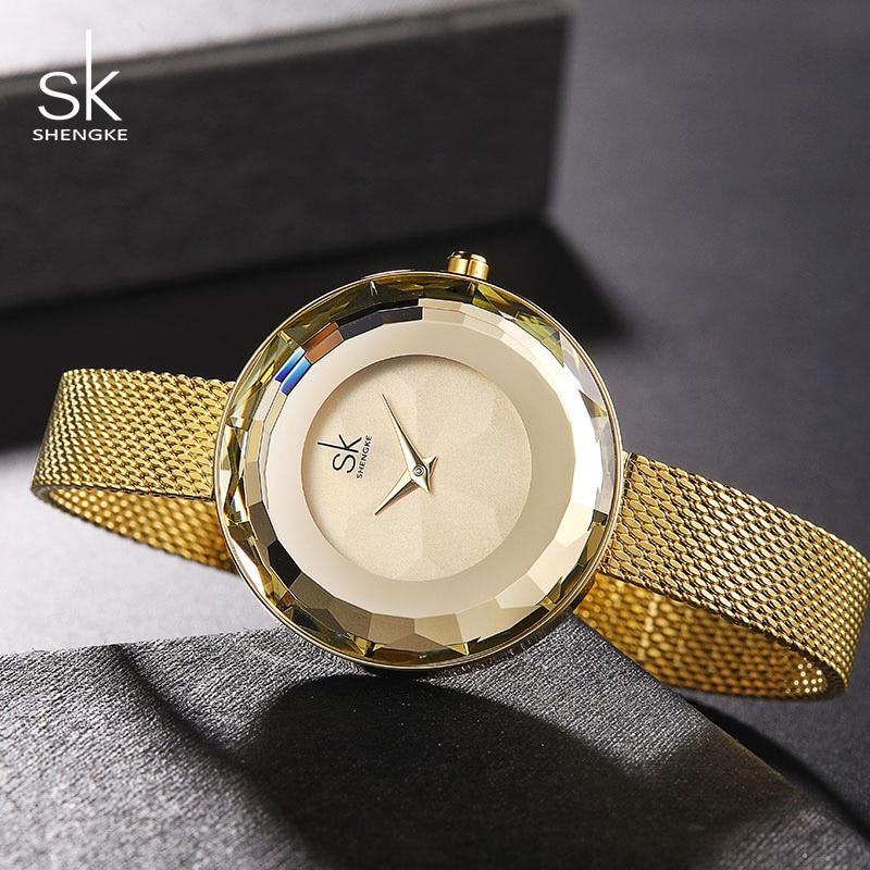 Shengke Luxury Dial Women Gold Wrist Watch Reloj Mujer 2019 New Fashion Stainless Steel Quartz Watches Women Gift Clock #K0100