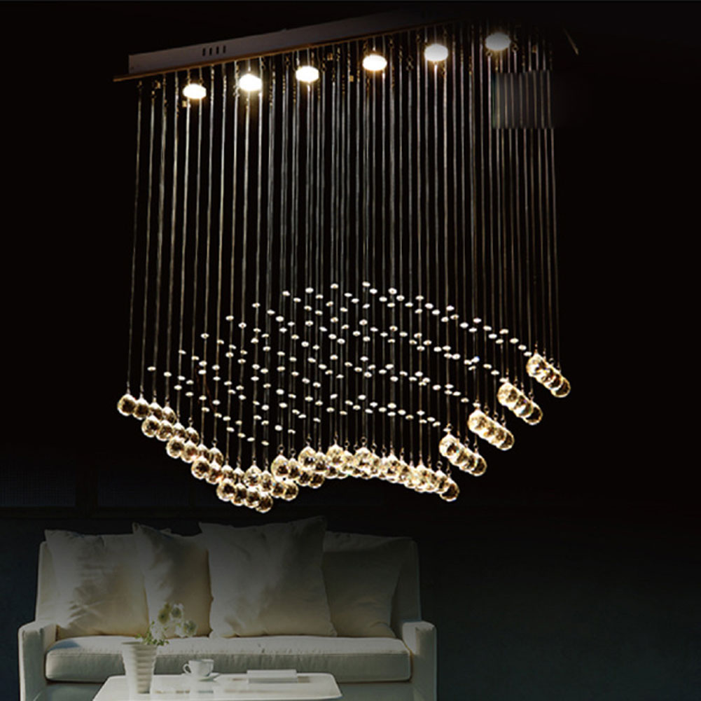 Modern chandelier k9 crystal ball fan curtain style luminaire modern chandelier k9 crystal ball fan curtain style luminaire decoration ceiling art lighting pendant lamp chandeliers lights in chandeliers from lights arubaitofo Images