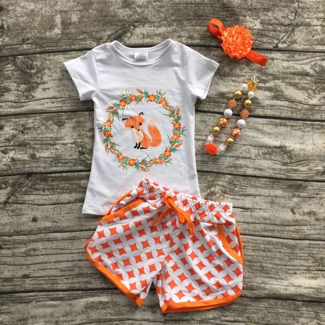 2016 girls clothes baby kids summer suit orange gold dot  fox short shorts boutique  with matching bow and necklace set