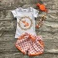 2016 niñas ropa bebé niños traje de verano de naranja de punto de oro fox short shorts boutique con un arco a juego y collar conjunto