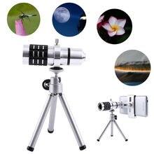 Sale ZEALLION Universal 12X Zoom Camera Telephoto Telescope Lens + Mount Tripod Kit  For iPhone Xiaomi Samsung Huawei HTC