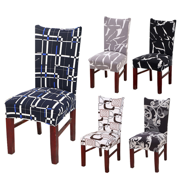 Kitchen Chair Cover Dining Seat Black Slipcover Removable Furniture Covers Anti Dust Spandex 1 2 4 6pcs