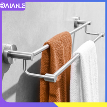 Towel Bar Brushed Stainless Steel Bathroom Holder Wall Mounted Rack Hanger Storage Shelf Accessories