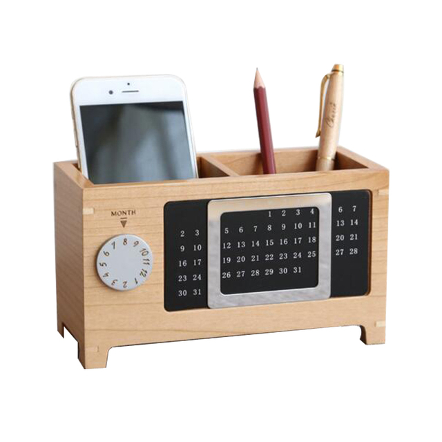 Office Pen Holder With Calendar Wooden Pen Pot Desk Week