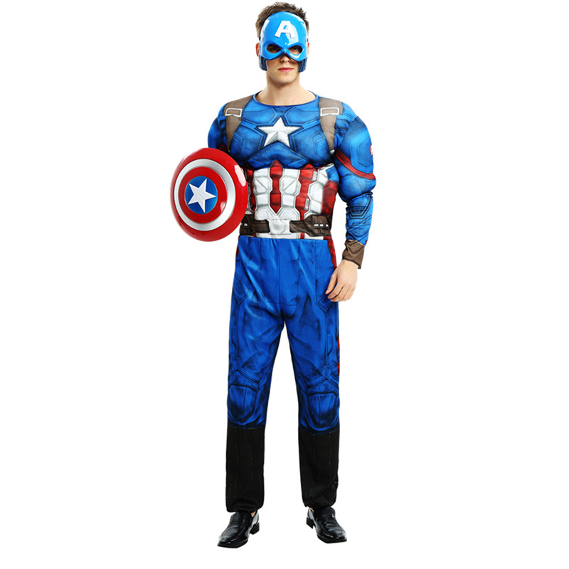 Adults men Avengers muscle Captain America Costume Halloween Superhero Cosplay party costume Gifts Fancy Dress Outfit with Mask