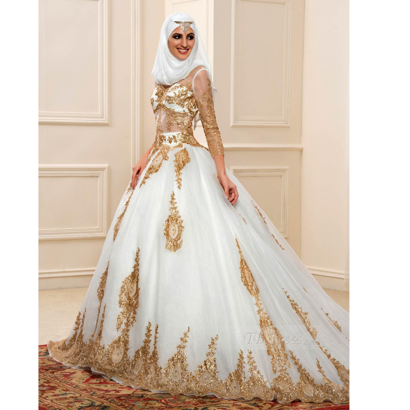 2017 golden white color muslim wedding dress v neckline