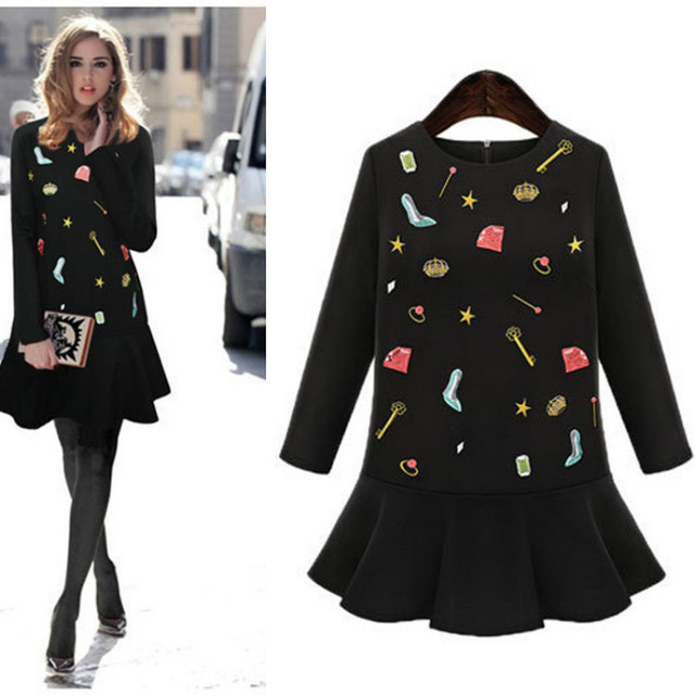 Spring autumn maternity dress long sleeve black pregnant women show thin embroidery and pure and fresh temperament ruffled skirt