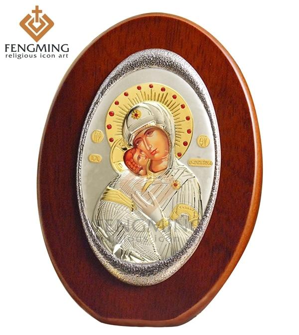 가톨릭 침례 선물 우리의 레이디 블라디미르 성모 마리아 타원형 나무 금속 실버 아이콘 종교 도매 그리스 가톨릭 장식