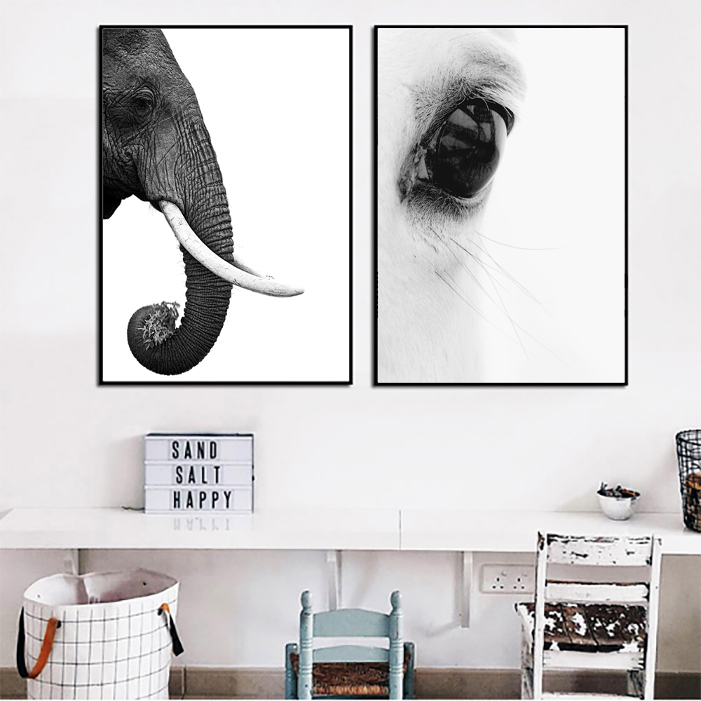Animal Elephant Horse Prints Poster Canvas Art Wall Picture Living Room Decor
