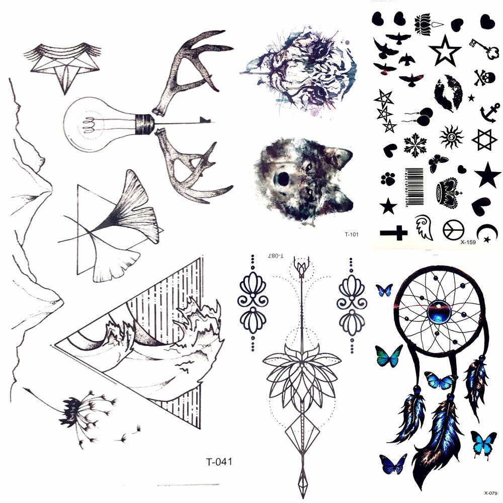 Menina Sexy Braço Corpo Pintura Da Arte Falsa Tatuagem Preto Pequeno Onda triângulo Etiqueta Do Tatuagem Temporária Tatoo Homens Da Montanha Lâmpada Perna pasta