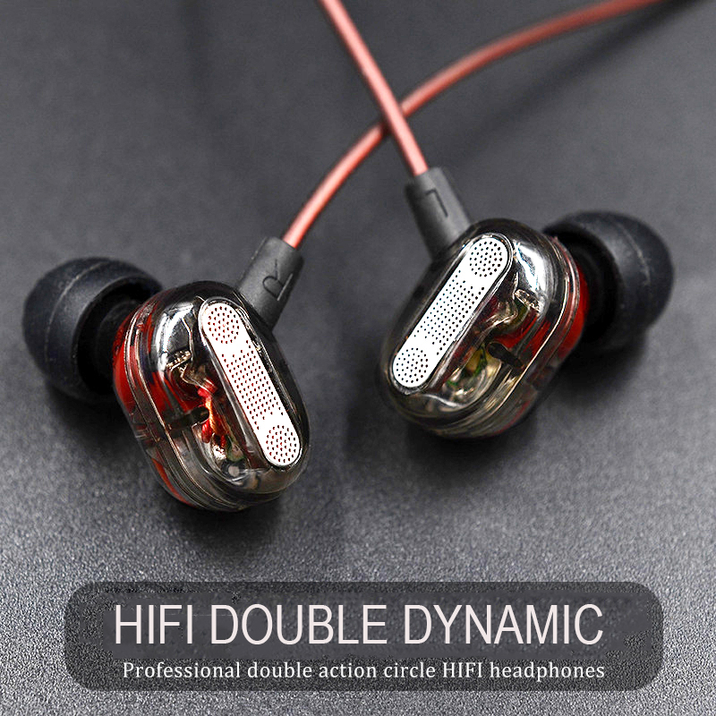 Dual Dynamic Drivers Universal 3.5mm jack In Ear Earphone with Mic Sports Headphones HIFI Bass Music Headset Ear buds for iPhone