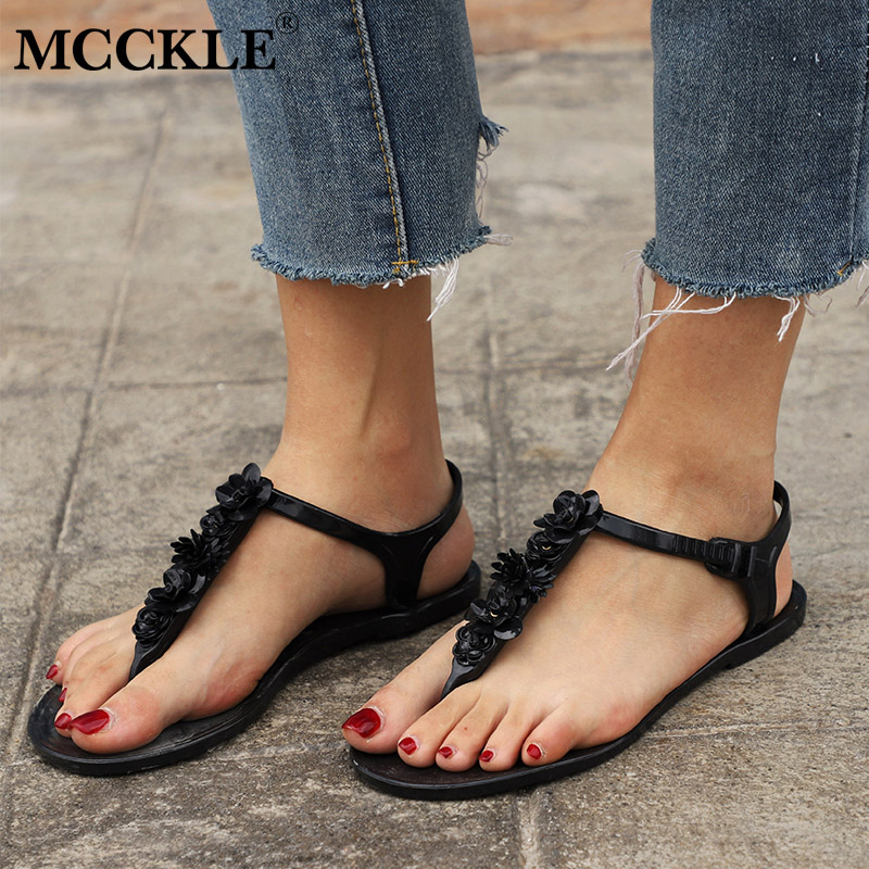 MCCKLE Women Sandals Flip flops For Female Buckle Strap Jelly Shoes Flower Beach Woman Flat Sandal 2018 Fashion Ladies Footwear rivet wind rome sandals female korean students all match flat with flip flops jelly women shoes buckle strap new fashion novelty