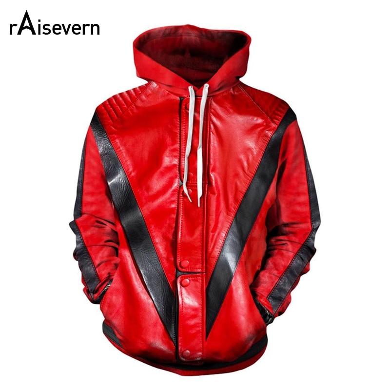 Raisevern sudaderas con capucha MJ Michael Jackson Thriller chaqueta sudadera con capucha sudadera 3D impresión moda Streetwear delgada jerseys Dropship